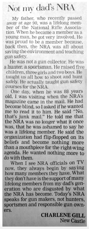 Not My Dad's NRA Anymore (LTE)